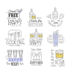 Cocktail bar happy hour promotion sign design vector