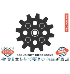 Gearwheel flat icon with 2017 bonus trend vector