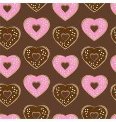 Assorted heart shaped doughnuts vector image