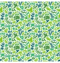 Flowers and plants - seamless pattern vector