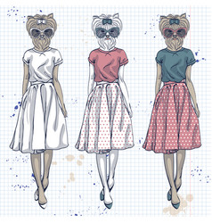 Set of 3 model with dog head vector