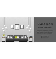 Elegance living room interior banner for your web vector