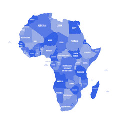 Political map of africa in four shades of green vector