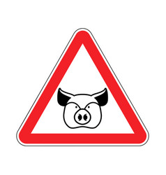 Warning pig swine on red triangle road sign vector