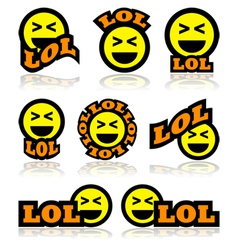 Laughing face icons vector