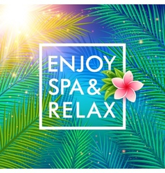Tropical background with palm leaves spa concept vector