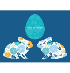 Blue and yellow flowersilhouettes bunny vector