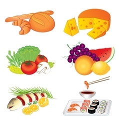 Set of various tasty food on white vector