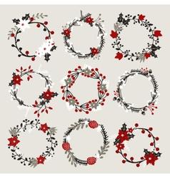 isolated christmas floral ponsettia decor wreaths vector image