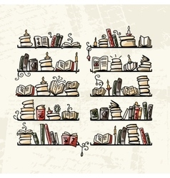 Book shelves sketch for your design vector