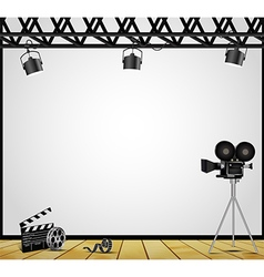 Vintage theater spotlight on a white background vector