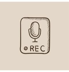Record button sketch icon vector