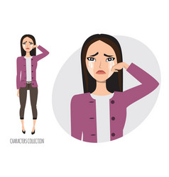 asian woman crying vector image vector image
