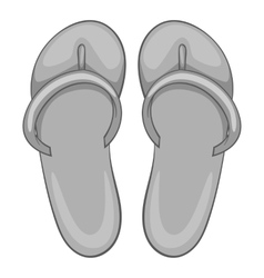 Beach slippers icon gray monochrome style vector
