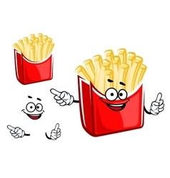 Cartoon french fries box character vector image vector image