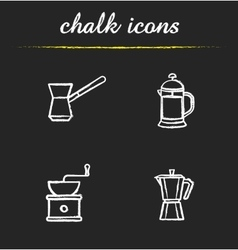 Coffee brewing tools chalk icons set vector image