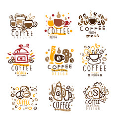 coffee original colorful graphic design template vector image