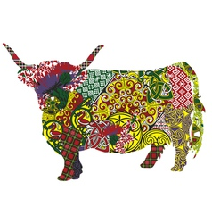 Cow in the scottish patterns vector