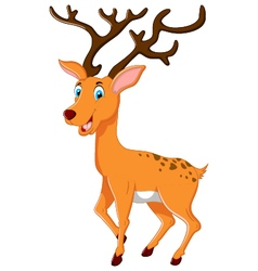 cute deer cartoon posing vector image