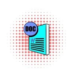 Doc file icon in comics style vector