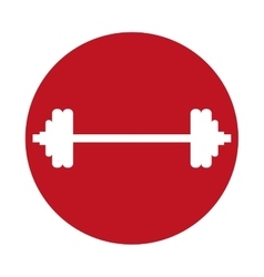 Dumbbell weight sport gym icon red circle vector