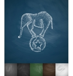 Elephant on the ball icon hand drawn vector
