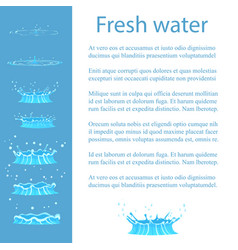 Fresh water advert banner with text geizer set vector