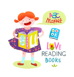 Girl child reading a book happy studying vector