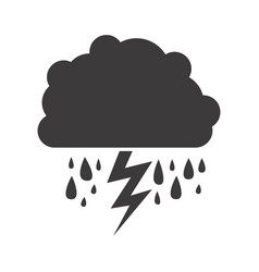 Gray silhouette of cloud with rain and lightning vector