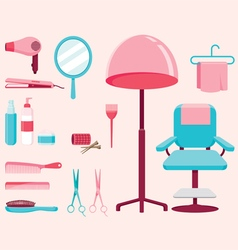 Hair Salon Equipments Set vector image vector image