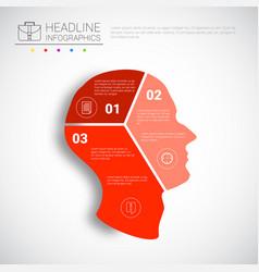 headline infographic design head steps business vector image
