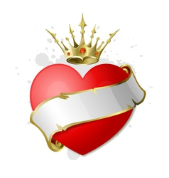 heart with ribbon and crown vector image vector image