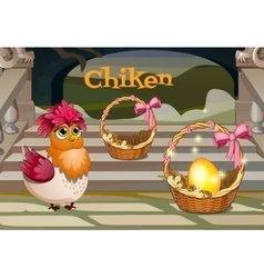 Hen with the golden egg in basket vector