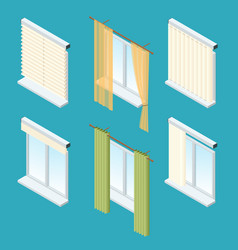 Isometric windows curtains drapery shades vector
