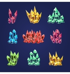 Magic crystals icons textures vector