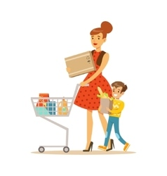 Mother and son with cart shopping in department vector