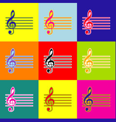 Music violin clef sign g-clef pop-art vector
