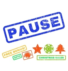 Pause rubber stamp vector