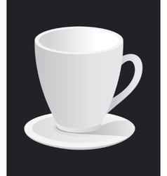 photorealistic white cup and saucer vector image
