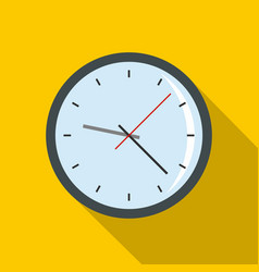 round analog clock face icon flat style vector image vector image