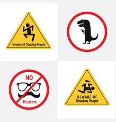 Set of the funny road signs for bar or vector