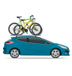 Side view station wagon car with two bicycles vector