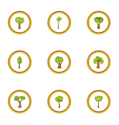 spring forest icons set cartoon style vector image vector image