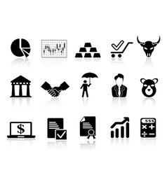stock exchange icons set vector image vector image