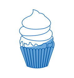 sweet cupcake cream food party icon vector image