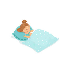 sweet little girl sleeping on her bed cartoon vector image vector image