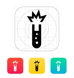 Test tube with explosive substance icon vector