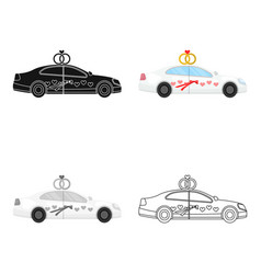 White wedding car with rings auto for the bride vector