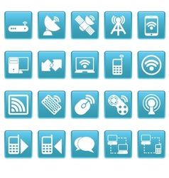 Wireless icons on blue squares vector image vector image