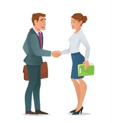 Handshake business woman and business man vector